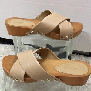 BCBGENERATION taupe leather slide sandals